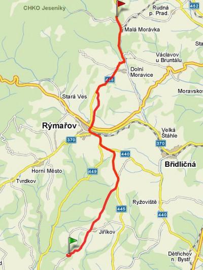 Cyklotrasa Sovinec - Malá Morávka
